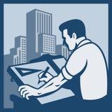 建筑师大厦减速火箭制图员的图画 免版税库存图片
