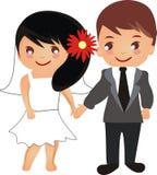 美好的动画片夫妇婚礼 免版税库存照片