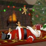 在姜饼人攻击的圣诞老人 免版税库存照片