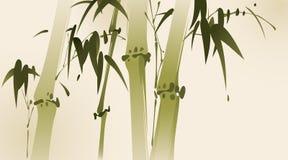竹子分支东方绘画样式 免版税图库摄影