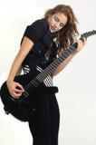 女性质朴吉他使用 免版税库存图片
