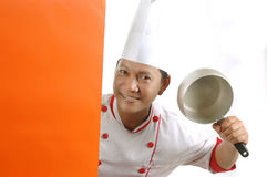 烹调藏品器物的主厨 免版税库存图片