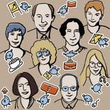 Икона дела и бизнесмены безшовной картины Стоковое Изображение RF