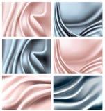 五颜六色的典雅的集丝绸纹理 免版税库存图片