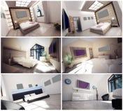 τρισδιάστατο εσωτερικό δωμάτιο ξενοδοχείων Στοκ Φωτογραφία