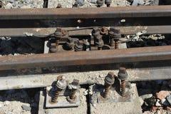 铁路生锈的跟踪 库存图片