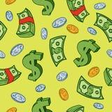 πρότυπο χρημάτων κινούμενων σχεδίων άνευ ραφής Στοκ Φωτογραφία