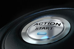 活动按钮起始时间 免版税库存照片