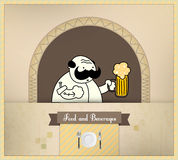 酒吧招待啤酒饮料食物系列服务 免版税库存图片