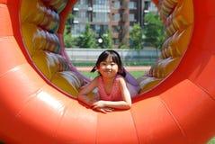 亚裔女孩使用的一点 图库摄影