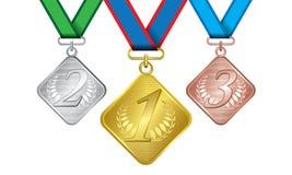 作为证书古铜色金牌银 免版税库存照片