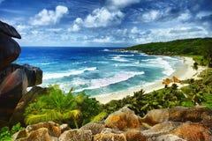 тропическое пляжа идилличное Стоковое Изображение