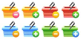 αγορές κουμπιών καλαθιών Στοκ Εικόνα