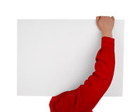 Άτομο στο κενό σημάδι εκμετάλλευσης πουκάμισων Στοκ Φωτογραφίες