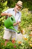 浇灌花在庭院里 免版税库存图片