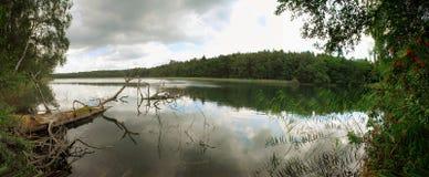 湖平静树木繁茂 库存图片