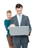 企业微笑膝上型计算机的人使用 库存图片