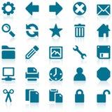 蓝色图标集合简单的万维网 免版税库存照片