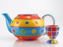 五颜六色的茶壶 库存图片