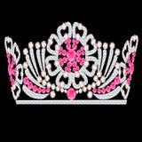 冠王冠女性玫瑰色石婚礼 免版税库存照片