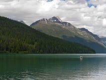 前浆手划皮船的湖 免版税库存图片