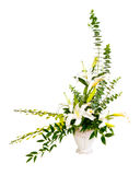 Белое и зеленое расположение букета цветка в вазе Стоковая Фотография RF