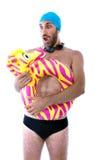游泳者疯狂的潜水 免版税库存照片
