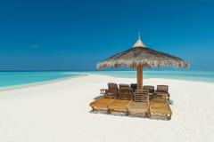 在马尔代夫的热带海滩 免版税库存图片