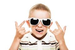 微笑的儿童打手势 免版税库存照片