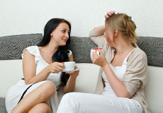 二个妇女朋友聊天 免版税库存图片