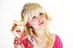 秀丽白肤金发的高关键字 库存照片