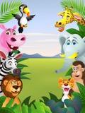 愉快的动物动画片 免版税库存照片