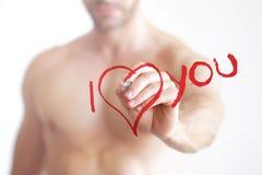 Я тебя люблю сексуальный человек Стоковое фото RF