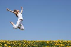 美丽的女孩跳 免版税库存图片