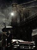 在雨之下的布鲁克林 免版税库存图片