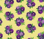 与紫罗兰色花花束的无缝的模式  免版税库存图片