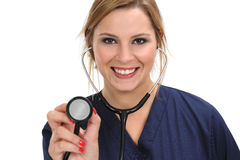 Женский стетоскоп удерживания доктора Стоковое фото RF