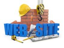 网站大厦。 起重机、墙壁和工具 库存图片