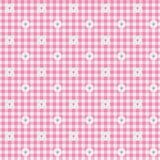 桃红色方格花布织品有花背景 库存图片