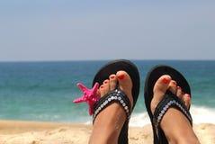 在海滩的放松 免版税库存图片
