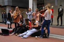 爱尔兰街道音乐家 免版税库存图片