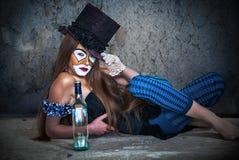 纵向可怕妖怪小丑 免版税图库摄影