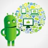 与社会媒体概念的滑稽的绿色机器人 免版税库存照片