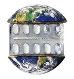 地球和药片 库存照片