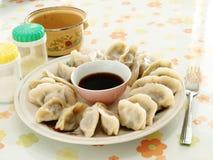 在饭桌饺子 图库摄影