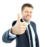 愉快的商人去的赞许 免版税库存照片