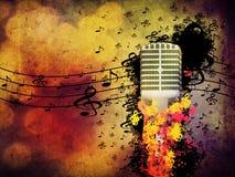 Абстрактная предпосылка нот с микрофоном Стоковое фото RF