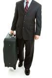 带着-查出的手提箱的出差者 免版税库存照片