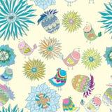 与鸟的五颜六色的无缝的模式在花 图库摄影