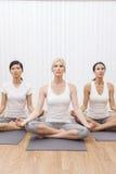 人种间组瑜伽位置的妇女 库存图片